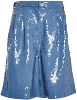 Tibi Blue Sequinned Shorts