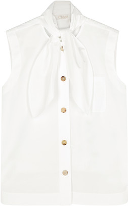 Chloé White Sleeveless Cotton-poplin Blouse