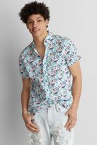 American Eagle Outfitters AE Short Sleeve Print Poplin Shirt
