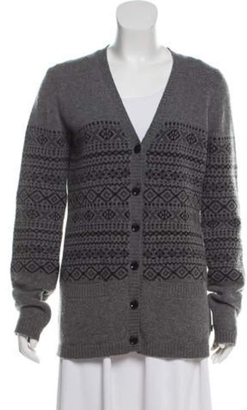 Wool Fair Isle Cardigan Grey Wool Fair Isle Cardigan