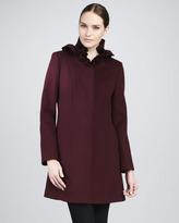 Elie Tahari Cate Ruffle-Collar Wool Coat