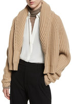 Vince Cropped Cable-Knit Cardigan, Caramel