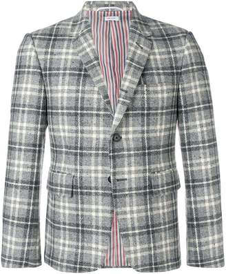 Thom Browne tartan donegal sport coat