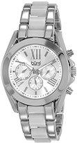 Burgi Women's BUR094SS Quartz Silver Quartz Watch with Silver Dial and Silver And White Bracelet