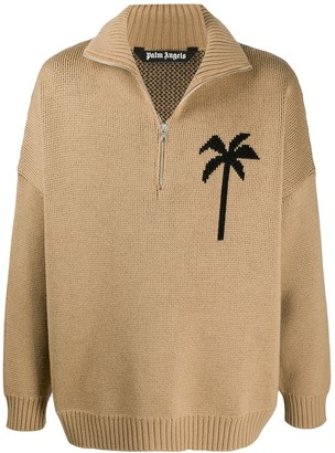 Palm Angels Palm Tree Print Zipped Jumper