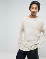 Asos Bamboo Jersey Oversized Long Sleeve T-Shirt With Drapey Pocket