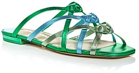 Sophia Webster Women's Ramona Blue & Green Woven Strap Flat Sandals