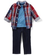 Nautica Baby Boys 12-24 Months Plaid Button-Down Shirt, Tee, & Pants 3-Piece Set