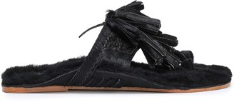 Figue Tasseled Shearling-lined Calf Hair Sandals