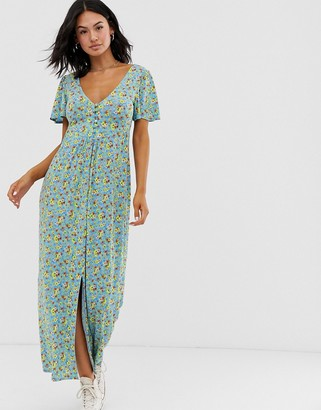 Asos Design DESIGN jersey crepe maxi tea dress with self covered buttons in blue ditsy