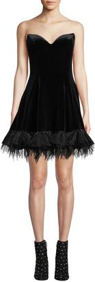 Jovani Strapless Velvet Bustier Dress w/ Feathered Hem