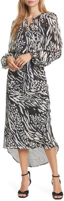 Veronica Beard Mavis Mixed Animal Print Silk Midi Dress