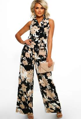 Pink Boutique Lavish Lady Black Floral Wide Leg Jumpsuit