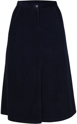 Muza A-Line Corduroy Knee Length Skirt With Slit
