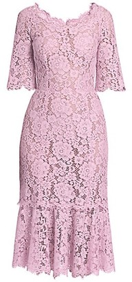 Dolce & Gabbana Lace Short-Sleeve Ruffle-Hem Dress