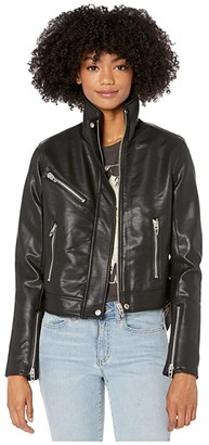 Blank NYC Vegan Leather High Collar Moto Jacket