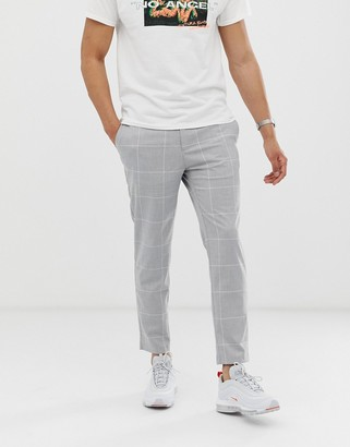 Bershka skinny cropped trousers in light grey check