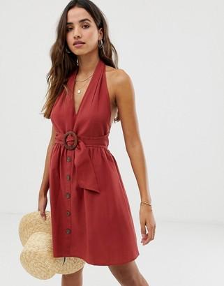 Asos Design DESIGN halter neck mini button through linen sundress with buckle-Red