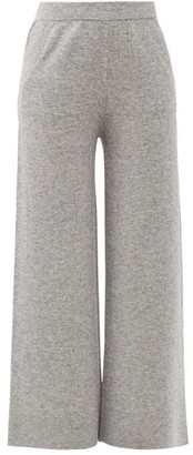 Allude Wool-blend Wide-leg Track Pants - Grey