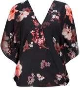 Black Floral Blossom Top