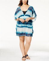 Miken Plus Size Tie-Dyed Poncho Cover-Up