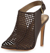 Cynthia Vincent Francine Woven Leather Slingback Sandal, Dark Brown
