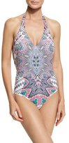 Red Carter Halter Maillot Low-Back One-Piece Swimsuit, Multi Pattern