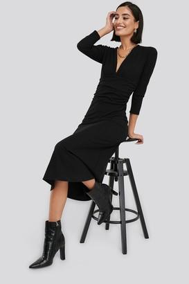 NA-KD Deep V Waist Detail Dress Beige