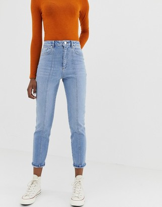 Asos DESIGN Farleigh high waisted slim mom jeans in mid wash with vertical seam detail