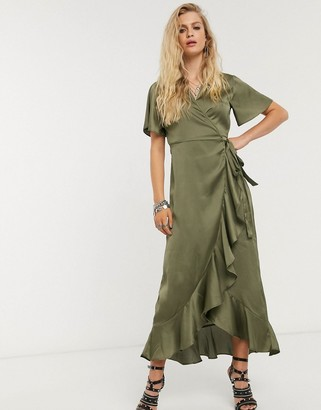 Object satin wrap maxi dress with ruffle trim in olive