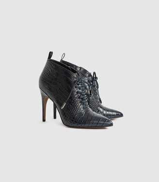 Reiss Aida - Leather Point Toe Lace Up Heels in Navy