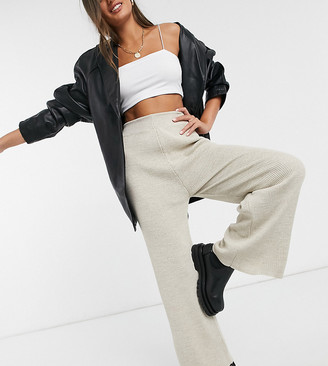 Fashionkilla Petite knitted flare trouser co ord in oatmeal