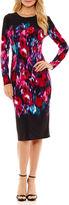 Liz Claiborne Long Sleeve Pattern Sheath Dress