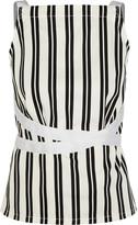 Balenciaga Striped Cotton-twill Wrap Top - White