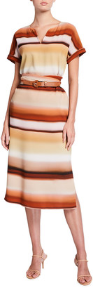 Lafayette 148 New York Cosimia Striped Midi Dress with Belt