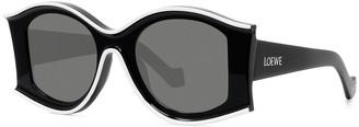 Loewe Two-Tone Acetate Inset Round Sunglasses