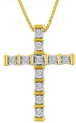 Silver Cross Fine Jewelry Womens 1/10 CT. T.W. Genuine White Diamond 14K Gold Over Pendant Necklace