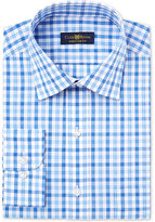 Club Room Men's Classic/Regular Fit Blue Framed Gingham Dress Shirt, Only at Macy's