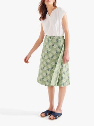 White Stuff Reversible Wrap Midi Skirt, Green