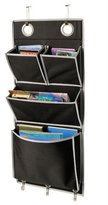 "Richard's Homewares Over the Door Magazine Storage Pockets Hooks Books Organizational Back to School Office Home, 14'W x32""H, Color: Black & Silver."