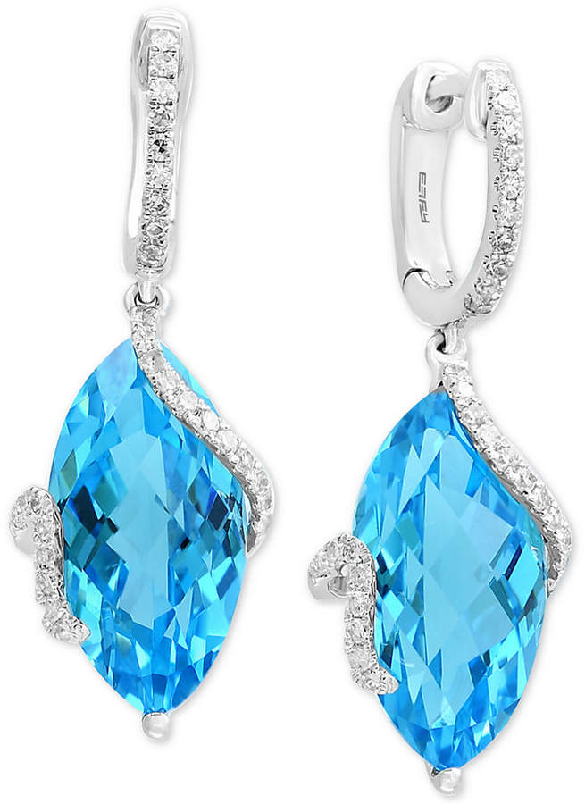 Effy Ocean Bleu by Blue Topaz (13-3/4 ct. t.w.) & Diamond (1/4 ct. t.w.) Drop Earrings in 14k White Gold