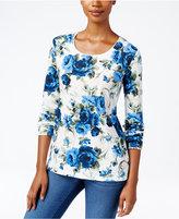 Karen Scott Petite Floral-Print T-Shirt, Only at Macy's