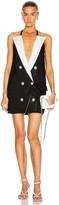Balmain 6 Button Peak Lapel Knit Dress in Black & White | FWRD