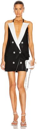 Balmain 6 Button Peak Lapel Knit Dress in Black & White   FWRD