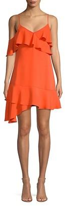BCBGMAXAZRIA Asymmetrical Ruffled Mini Dress