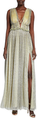 Jonathan Simkhai Metallic Plisse Open-Neck Maxi Dress