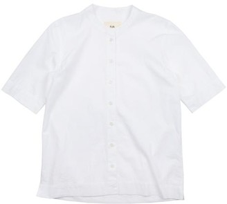 Folk Collarless Shirt Japanese Cotton White - 0