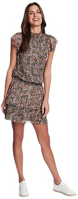 1 STATE 1.STATE Forest Gardens High Neck Tiered Dress (Rich Black Multi) Women's Clothing