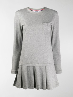 Thom Browne Drop Waist Pleated Bottom Dress In Light Weight Loopback