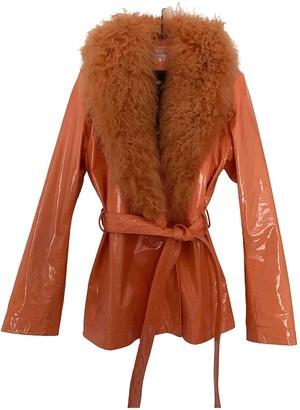 Saks Potts Orange Leather Coat for Women